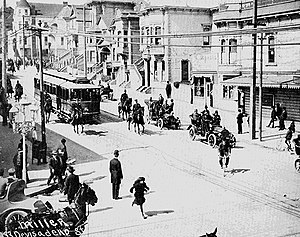 Scab streetcar led by police - San Francisco Street Car Strike 1907.jpg