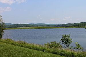 Monroe Township, Wyoming County, Pennsylvania - Lake and mountains in Monroe Township