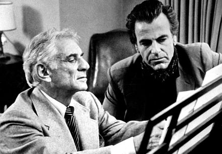 Bernstein with Maximilian Schell on PBS Beethoven TV series (1982) Schell and Bernstein-83-1.jpg