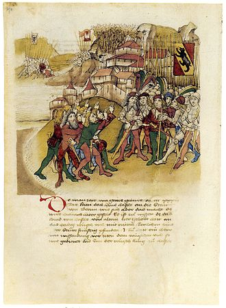 Meiringen - The people of Hasle swear allegiance to Bern in 1334 (depiction in the Spiezer Schilling, 1480s).