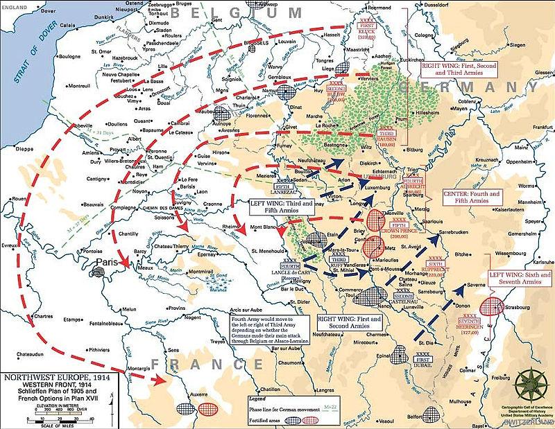 ملخص ساحه الحرب الاوروبيه في الحرب العالميه الاولى  800px-Schlieffen_Plan