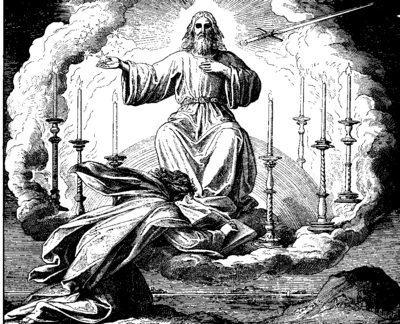 The Vision of John on Patmos by Julius Schnorr von Carolsfeld 1860. Schnorr von Carolsfeld Bibel in Bildern 1860 236.png