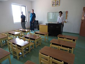 Passive learning - Classroom on a cooperative farm in North Korea configured for passive learning