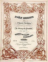 Robert und Clara Schumann: Zwölf Gedichte aus Rückert's Liebesfrühling für Gesang und Pianoforte Op. 37 12 {\displaystyle {\tfrac {37}{12}}} (1841), Titelblatt (Quelle: Wikimedia)