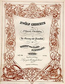 Highly decorated cover page of a composition, showing the title and other information in swinging lines, framed by a garland reminiscent of Gothic wood-carving