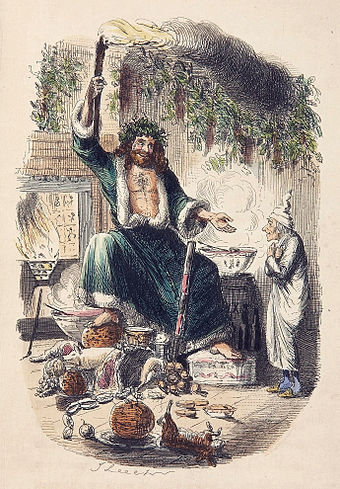 Ebenezer Scrooge and the Ghost of Christmas Present. From Charles Dickens' A Christmas Carol, 1843. Scrooges third visitor-John Leech,1843 edit.jpg