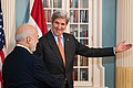 Secretary Kerry Greets Reporters With Iraqi Foreign Minister al-Jaafari in Washington (28454621465).jpg