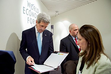 Secretary Kerry Reviews His Remarks Before Addressing the Young Global Leaders Forum at the World Economic Forum in Davos (24495346596).jpg