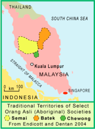 Semai people - The yellow area indicates location of the Semai people in Peninsula Malaysia.