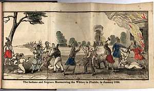 Second Seminole War - Illustration from an 1836 book on the murder of a woman by Seminoles
