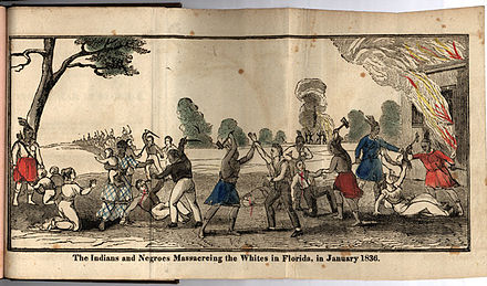 Woodcut from A true and authentic account of the Indian war in Florida ... (1836) Seminolesmassacreingwhites.jpg
