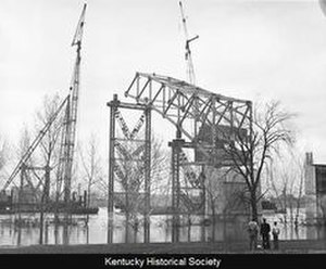 Sherman Minton Bridge - Construction showing temporary support falsework.