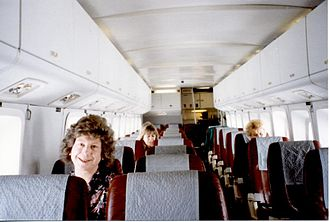 Short 360 - Cabin interior of Manx Airlines Short 360 showing 'box' structure and two-and-one seating layout