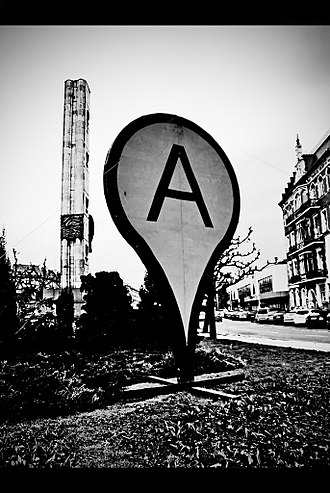 Google Maps - A monument in the shape of Google Maps pointer in the center of the city of Szczecin, Poland
