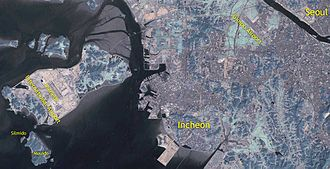 Silmido (film) - Map of the Incheon coastal area showing the location of Silmido.