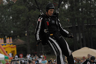Silver Wings (parachute team) - Silver Wings Team Member Landing During a Demonstration