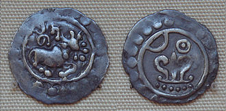 Rakhine people - Silver coin of king Nitichandra of Arakan in 8th century (British Museum). Most Arakan coins had the name of the ruling king on one side and the logo of the sun and moon and srivatsa on the other side.