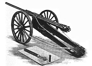 SS Ozama (1881) - Sims-Dudley 4 Inch Dynamite Gun on a field carriage