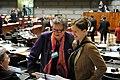 Sinikka Bohlin, Maria Wetterstrand och Cristina Husmark Pehrsson i samtal innan sessiones oppnande i Helsingfors 2008-10-27.jpg