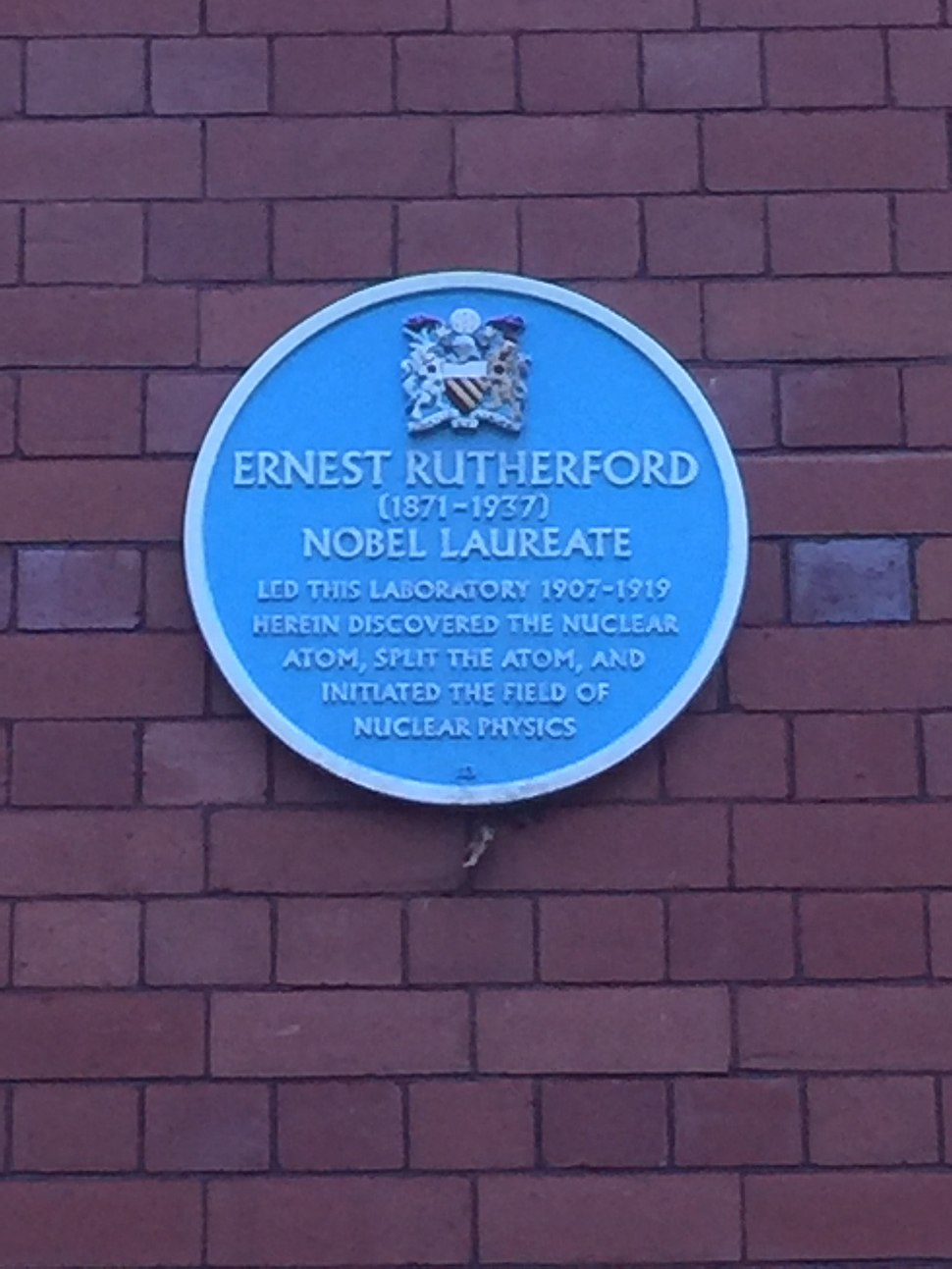 Sir Ernest Rutherford - Plaque at the University of Manchester