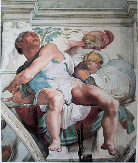 Detail of Jonah - Sistine Chapel, Michelangelo