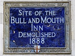 Site of the bull and mouth inn demolished 1888