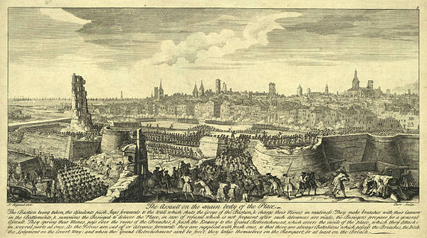 Depiction of the siege of Barcelona: The assault on the main body of the Place (1714) by Jacques Rigaud