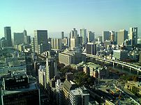 The skyline in Umeda,Osaka.The right side is U...
