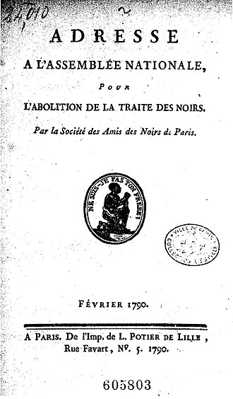 Society of the Friends of the Blacks - Front page of Address to the National Assembly by the Société des amis des noirs, February 1790