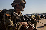 Soldiers from the 2nd Royal Australian Regiment execute a security halt on a beach during an amphibious assault exercise in 2015.jpg