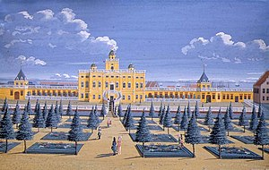 Amalienborg - Sophie Amalienborg, gouache by Johan Jacob Bruun (1740)