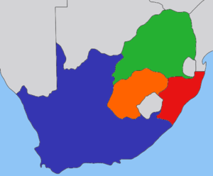 Jacobus Wilhelmus Sauer - The states of Southern Africa, before Union; with the Cape Colony coloured blue, Natal red, Transvaal green and the Orange Free state orange