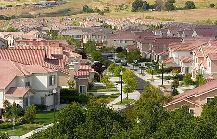 A tract housing development in San Jose, California South San Jose (crop).jpg