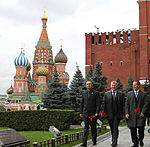 Soyuz TMA-06M crew at the Kremlin Wall.jpg