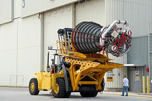 Hyster Company - One Space Shuttle main engine on a special Hyster forklift