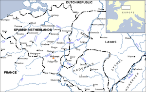 Battle of Walcourt - The Spanish Netherlands. Walcourt lies south of Charleroi near the river Sambre.