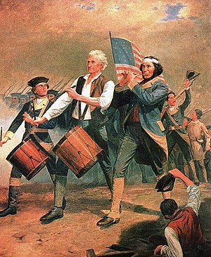 Martial music - Painting Spirit of '76 by A.M. Willard, 1857, showing fife and drums.