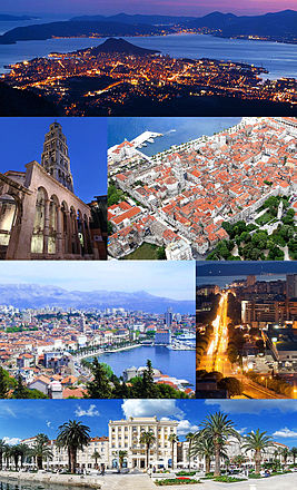 Top: Nighttime view of Split from Mosor; 2nd row: Cathedral of Saint Domnius; City center of Split; 3rd row: View of the city from Marjan Hill; Night in Poljička Street; Bottom: Riva waterfront