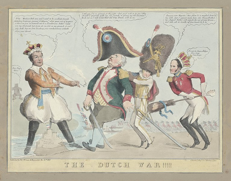 File:Spotprent op de onwillige rol van John Bull in de Belgische Revolutie, 1832 The Dutch War (titel op object), RP-P-1982-277.jpg