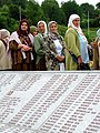 Srebrenica Massacre - Reinterment and Memorial Ceremony - July 2007 - Women and Monument.jpg