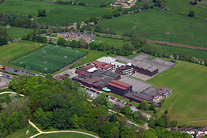 St Mary's Menston Catholic Voluntary Academy - Aerial photograph, 2012, showing the artificial turf pitch that was built in 2011