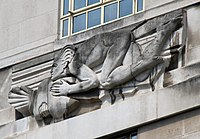 St James's Park Station sculptures – East Wind by Allan G. Wyon.jpg