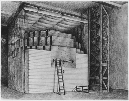 Diagram of Chicago Pile-1, the first nuclear reactor to achieve a self-sustaining chain reaction. Designed by Fermi, it consisted of uranium and uranium oxide in a cubic lattice embedded in graphite. Stagg Field reactor.jpg