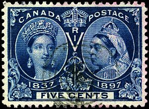 Chalon head - One of the stamps of Diamond Jubilee series, 1897.