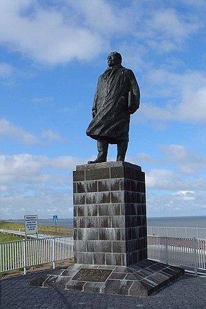 Zuiderzee Works - Statue of Cornelis Lely on the Afsluitdijk