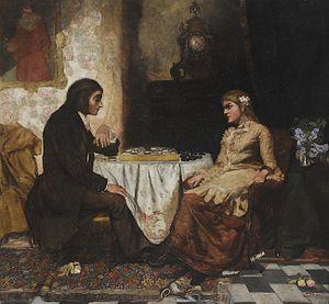 Ludwik Stasiak - Couple Playing Checkers (1894)