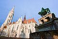 Statue of St Stephen near St. Mattias Cathedral Budapest, Hungary, Eastern Europe, 5 January 2014.jpg