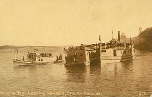 Steamboats of the Oregon Coast - Steamer Newport, with barge lashed on, and launch Beaver departing Newport for Yaquina, circa 1910
