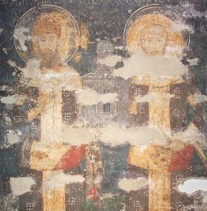 Petrič Fortress - Fresco of father and son:  Stephen of Dečani and Dušan the Mighty. Visoki Dečani monastery, 14th century (UNESCO).