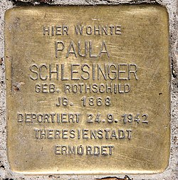 Photo of Paula Schlesinger brass plaque